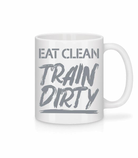 Jesť Clean Train Dirty - Keramický hrnček - Biela - Predné