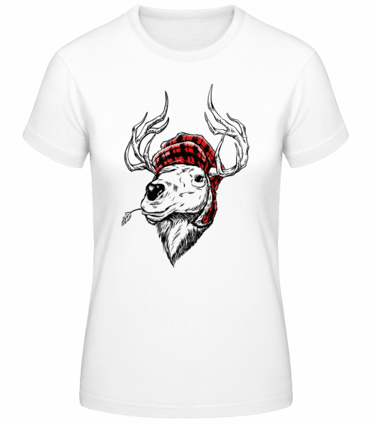 Christmas Reindeer - Women's Basic T-Shirt - White - Vorn