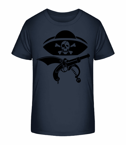 Pirate Symbol Black - Kinder Premium Bio T-Shirt - Marine - Vorn