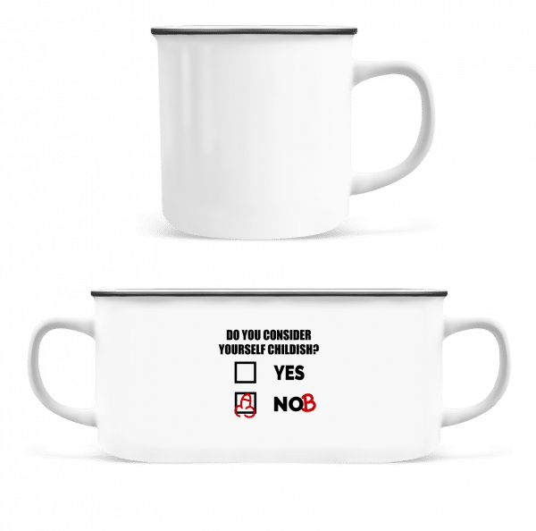 Are You Childish? - Enamel-cup - White - Vorn