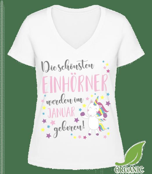 Einhorn Geboren In JANUAR - Janet Bio T-Shirt V-Ausschnitt - Weiß - Vorn