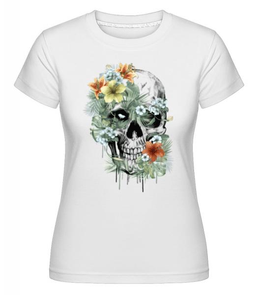 Flower Skull -  Shirtinator Women's T-Shirt - White - Front