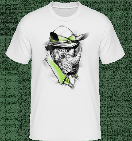 Safari Rhino -  Shirtinator Men's T-Shirt - White - Vorn