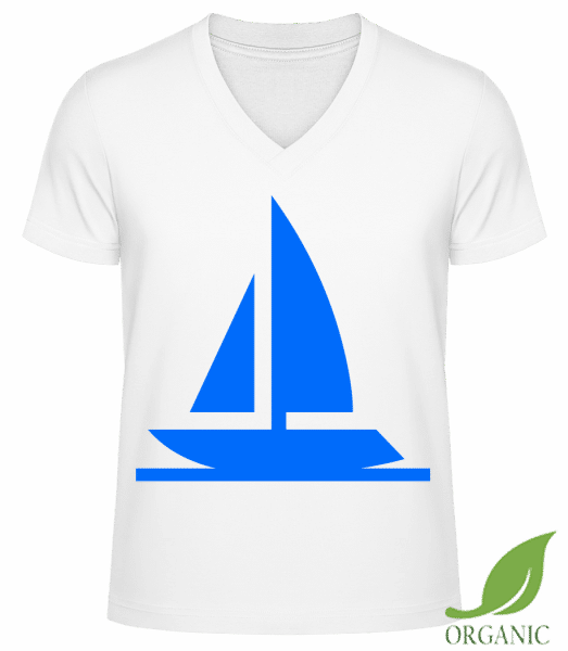 "Sailboat - ""James"" Organic V-Neck T-Shirt - White - Vorn"