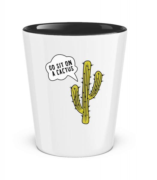 Go Sit On A Cactus - Two-Toned Shot Glass - White - Vorn