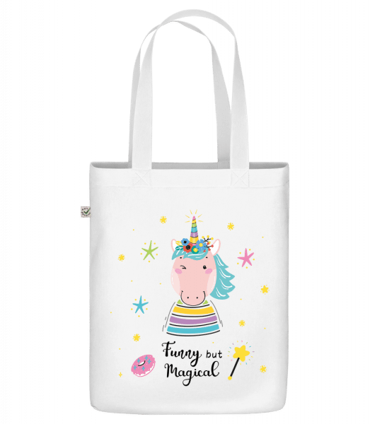 "Funny But Magical - Organic ""Earth Positive"" tote bag - White - Front"