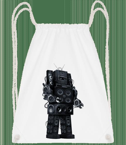 Ghetto Blaster Robot - Drawstring Backpack - White - Vorn