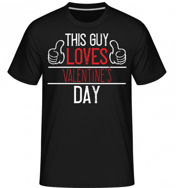 This Guy Loves Valentines Day -  Shirtinator Men's T-Shirt - Black - Front