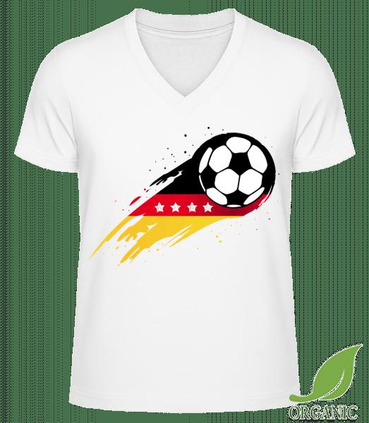 Deutschland WM Sterne - Männer Bio V-Neck T-Shirt - Weiß - Vorn