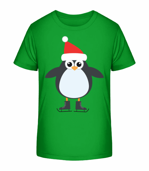 Ice Skate Penguin - Kid's Premium Bio T-Shirt - Green - Front