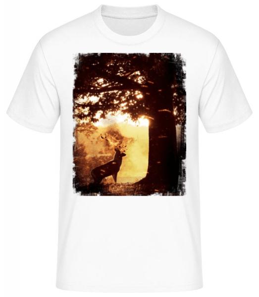 Sonnen Hirsch - Männer Basic T-Shirt - Weiß - Vorne