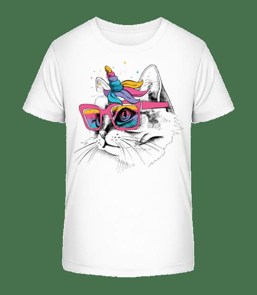 Unicorn Party Cat - Kid's Premium Bio T-Shirt - White - Vorn