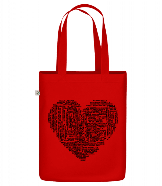 """Yoga Heart - Organic """"Earth Positive"""" tote bag - Red - Vorn"""
