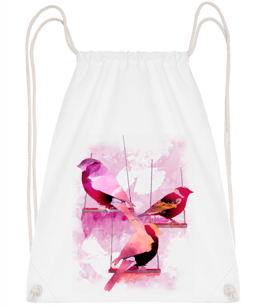 Bird Swings - Drawstring Backpack - White - Vorn