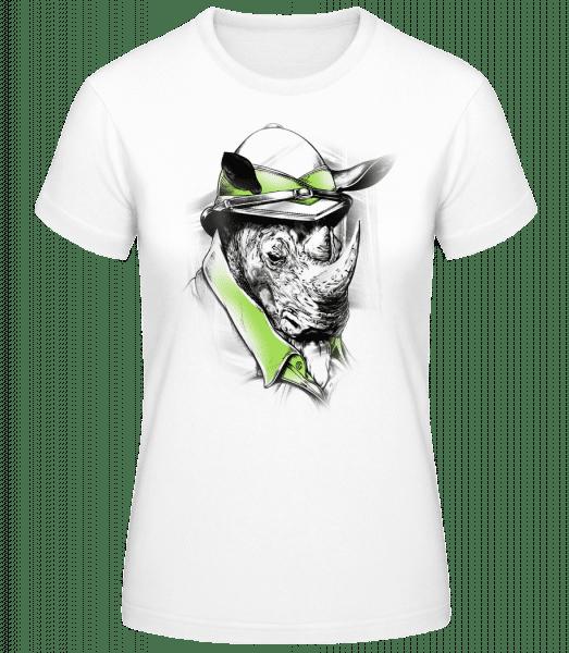 Safari Rhino - Women's Basic T-Shirt - White - Vorn