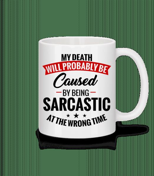 Sarkastický v nevhodnou dobu - Keramický hrnek - Bílá - Napřed