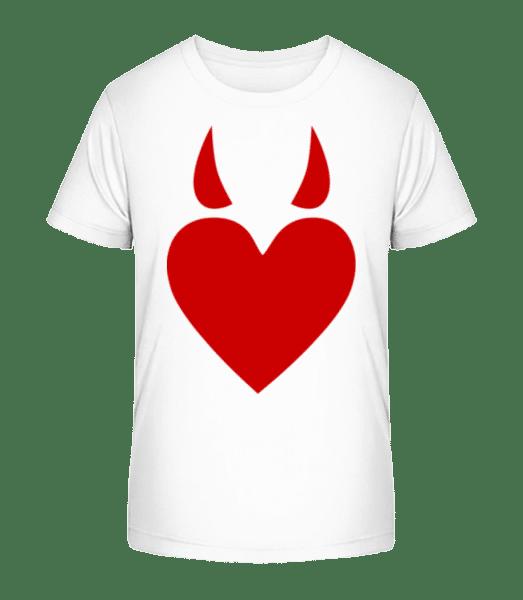 Devil Heart - Kid's Premium Bio T-Shirt - White - Vorn