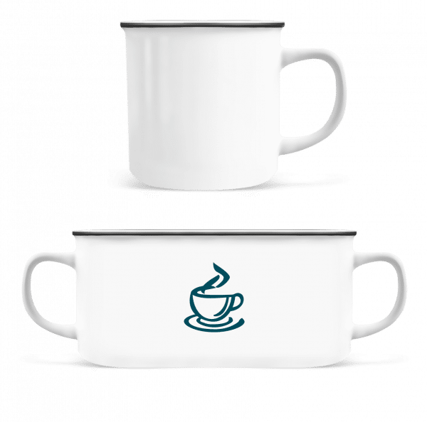 espresso - Smaltovaný hrnček - Biela - Predné