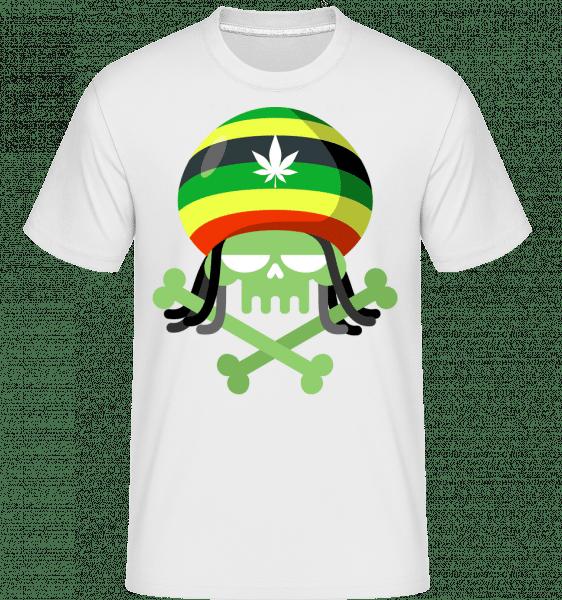 marihuana Skull -  Shirtinator tričko pre pánov - Biela - Predné
