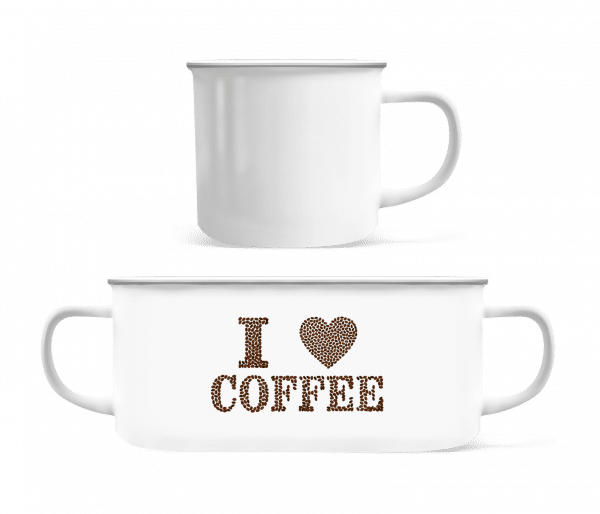 I Love Coffee - Enamel-cup - White - Vorn