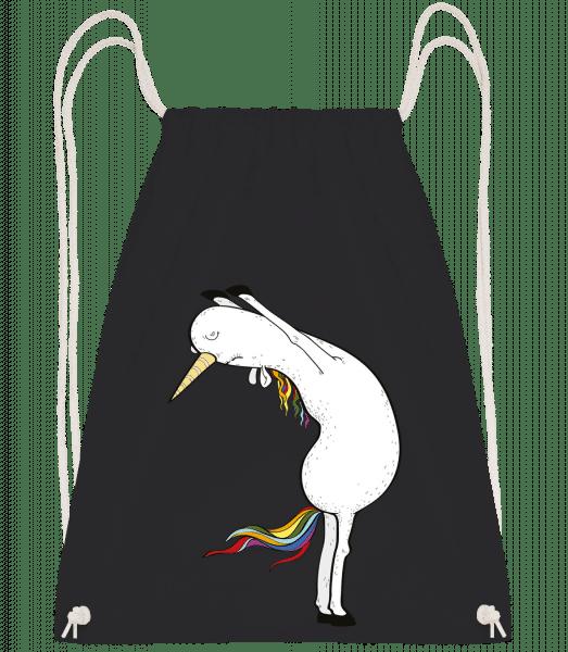 Yoga Unicorn Stretched - Drawstring batoh se šňůrkami - Černá - Napřed