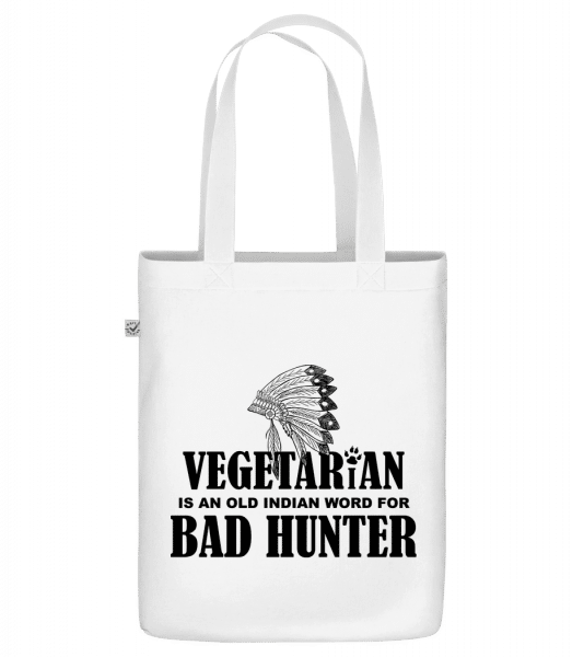 "Vegetarian Bad Hunter - Organic ""Earth Positive"" tote bag - White - Front"