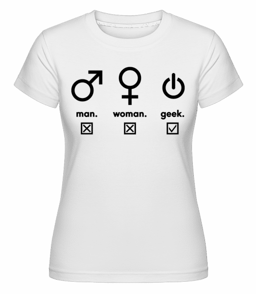 Man Woman Geek Symbols -  Shirtinator Women's T-Shirt - White - Vorn