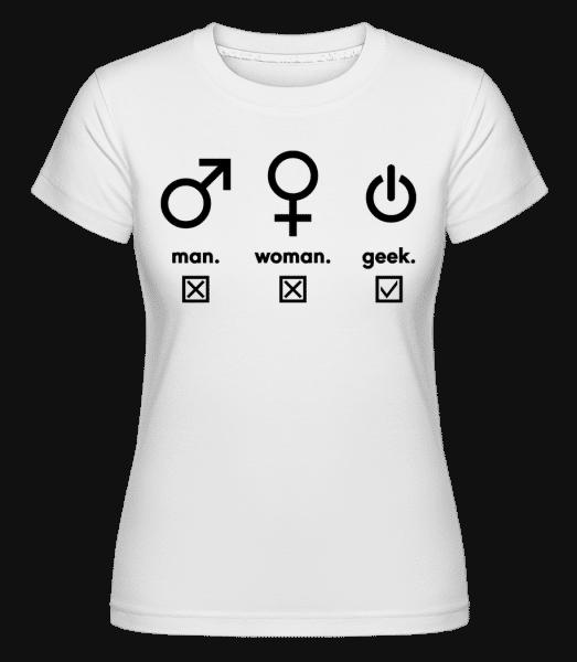 Man Woman Geek Symbols - Shirtinator Frauen T-Shirt - Weiß - Vorn