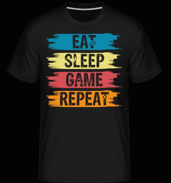 Eat Sleep Game Repeat -  Shirtinator Men's T-Shirt - Black - Vorn