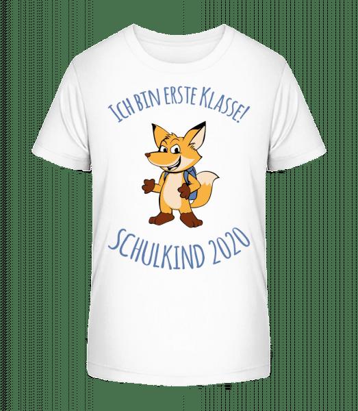 Kleiner Fuchs Mit Schulranzen 2020 - Kinder Premium Bio T-Shirt - Weiß - Vorn