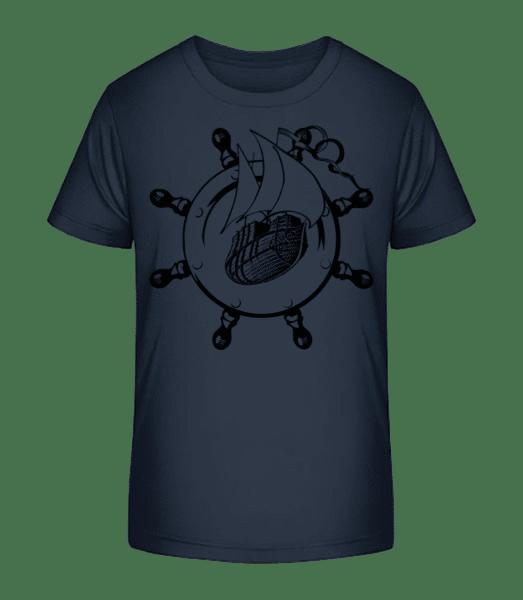 Ship Wheel Icon - Kid's Premium Bio T-Shirt - Navy - Vorn