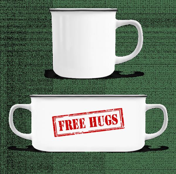 Free Hugs Sign - Enamel-cup - White - Vorn