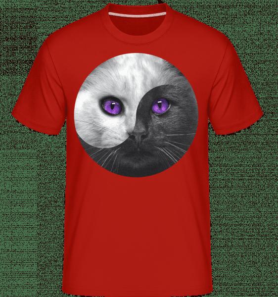 Yin Und Yang Katze - Shirtinator Männer T-Shirt - Rot - Vorn