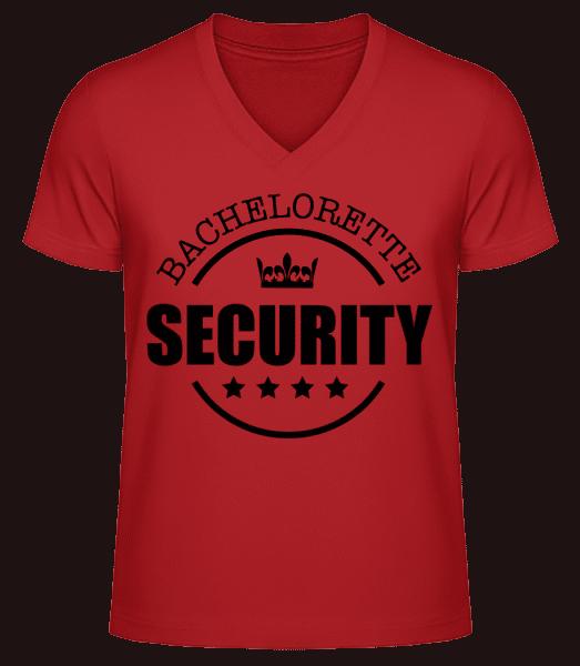 Bachelorette Security - Men's V-Neck Organic T-Shirt - Red - Vorn
