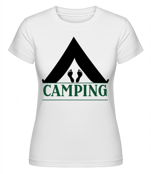 Camping Logo Black -  Shirtinator Women's T-Shirt - White - Vorn