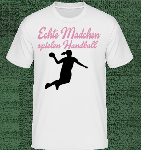 Echte Mädchen Spielen Handball - Shirtinator Männer T-Shirt - Weiß - Vorn