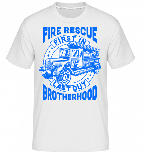 Fire Rescue First In Last -  Shirtinator Men's T-Shirt - White - Vorn