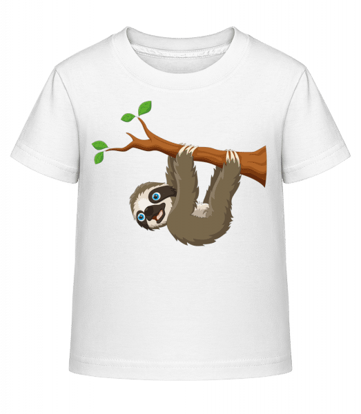 Cute Sloth Hanging On A Branch - Kid's Shirtinator T-Shirt - White - Vorn