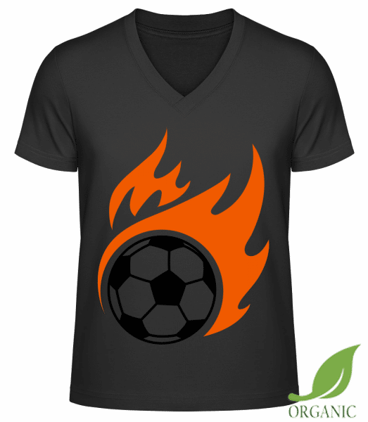 "Football Flame - ""James"" Organic V-Neck T-Shirt - Black - Vorn"