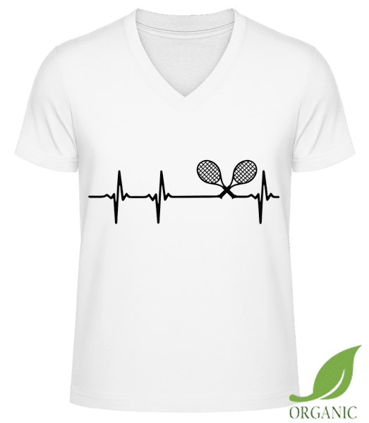 "Heartbeat Tennis - ""James"" Organic V-Neck T-Shirt - White - Vorn"