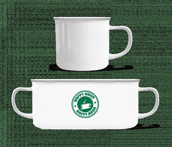 Happy Hour Coffee - Enamel-cup - White - Vorn
