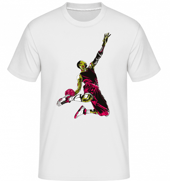 Zombie Slam Dunk -  Shirtinator Men's T-Shirt - White - Vorn