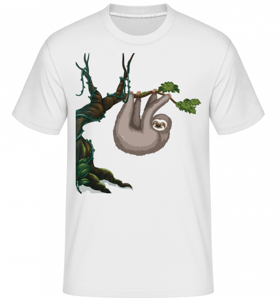 Sloth Hanging On A Tree -  Shirtinator Men's T-Shirt - White - Vorn