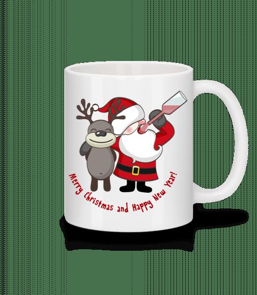 Merry Christmas Santa And Deer - Mug - White - Front