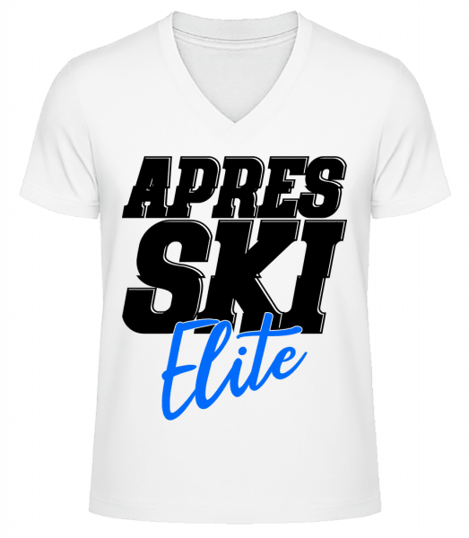 Apres Ski Elite - Men's V-Neck Organic T-Shirt - White - Vorn