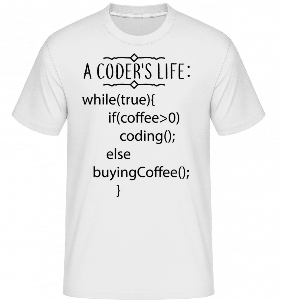 A Coder's Life Coffee -  Shirtinator Men's T-Shirt - White - Vorn