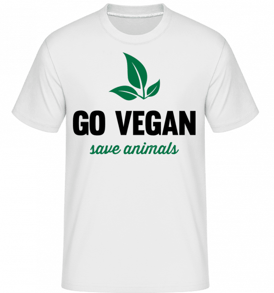 Go Vegan Save Animals -  T-Shirt Shirtinator homme - Blanc - Devant
