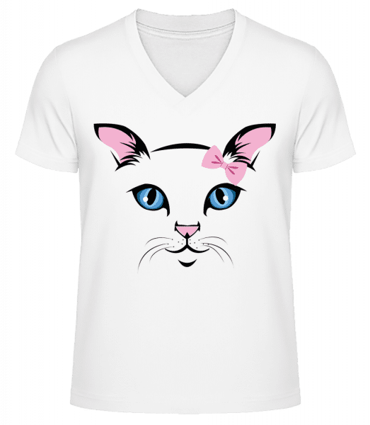 Cute Cat Kids - T-shirt bio col en V Homme - Blanc - Vorn