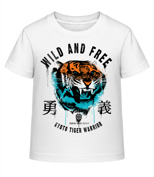 Wild And Free Tiger - Kid's Shirtinator T-Shirt - White - Vorn