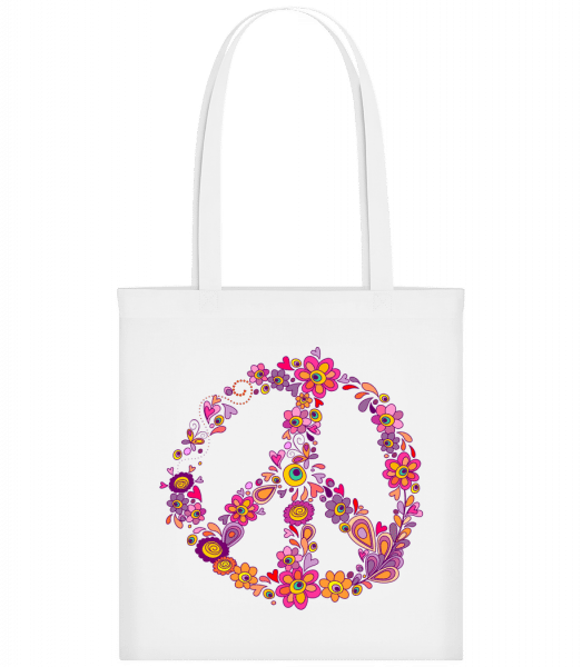 Peace Sign Flowers - Carrier Bag - White - Vorn